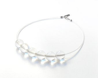 Clear necklace, transparent glass beaded necklace, bridal necklace, wedding jewelry