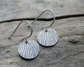 Sterling and Fine Silver Woodgrain Dangle Earrings. Faux Bois Pattern with Antiqued Finish.