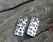 Hearts Sterling and Fine Silver Rectangle Dangly Earrings with Antiqued Finish. Hearts and Dots pattern earrings.