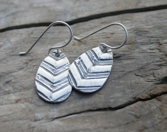 Chevron Earrings Sterling and Fine Silver Rustic Chevron Teardrop Dangly Earrings with Antiqued Finish.