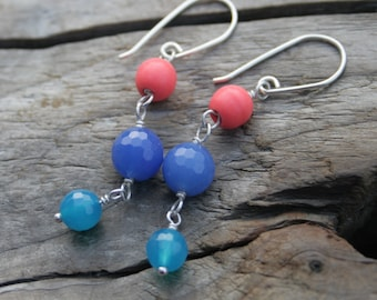Pink Orange Coral, Cobalt Blue Jade, Cyan Jade Gemstone Wire Wrapped Sterling Silver Earrings. Coral, Jade.  Handmade ear wires, ear hooks