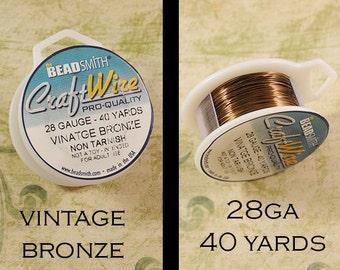 28 gauge Vintage Bronze Craft Wire - Non Tarnish - from Bead Smith - 40 Yards