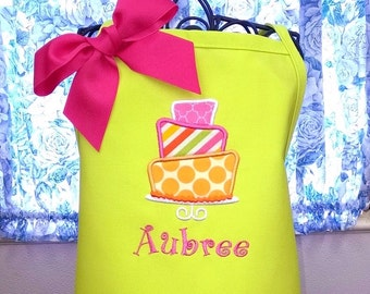 Crazy Cake Kids Apron Fabric Applique Personalized Birthday Gift