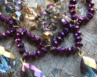 Deep purple crystal necklace wedding alternative jewelry necklace bridesmaids gift