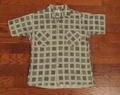 mens vintage shirt 50s pattern shirt short sleeve check tile 1950 Nofade cotton lightweight small Lucky 7