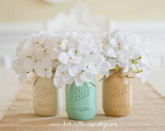 Set of 3 Pint Size Ball Mason Jars. Cream/Tropical Green/Tan. Painted Mason Jars. Mason jar Vase. Rustic. Farmhouse Home Decor. Painted.