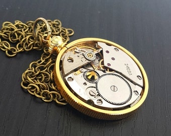 Vintage Watch Steampunk Inspired Pendant - Brass Coin Keeper #2 - Steampunk Inspired Timeless Relic