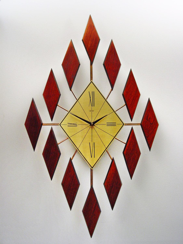 Mid Century Modern Diamond Starburst Clock by Welby