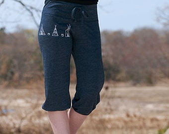 Teepee Yoga Pants, Cropped Pants, Workout Shorts, S,M,L,XL