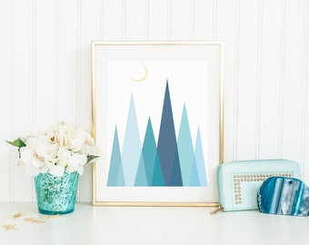 Blue abstract geometrical print with moon, nursery decor, kids room, play room, holiday gift, wall decor, geometrical print