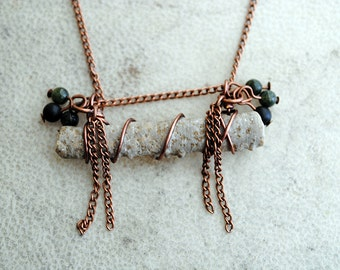 Fossil Necklace Crinoid Pendant Beaded Jewelry Stone Beads Copper Chain Rustic Natural History