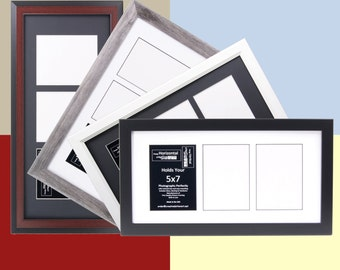 5x7 Multiple 3 Opening Picture Frames with 10x20 Collage Mat for Wedding Photography and Art, Holds Any 5 by 7 inch Media