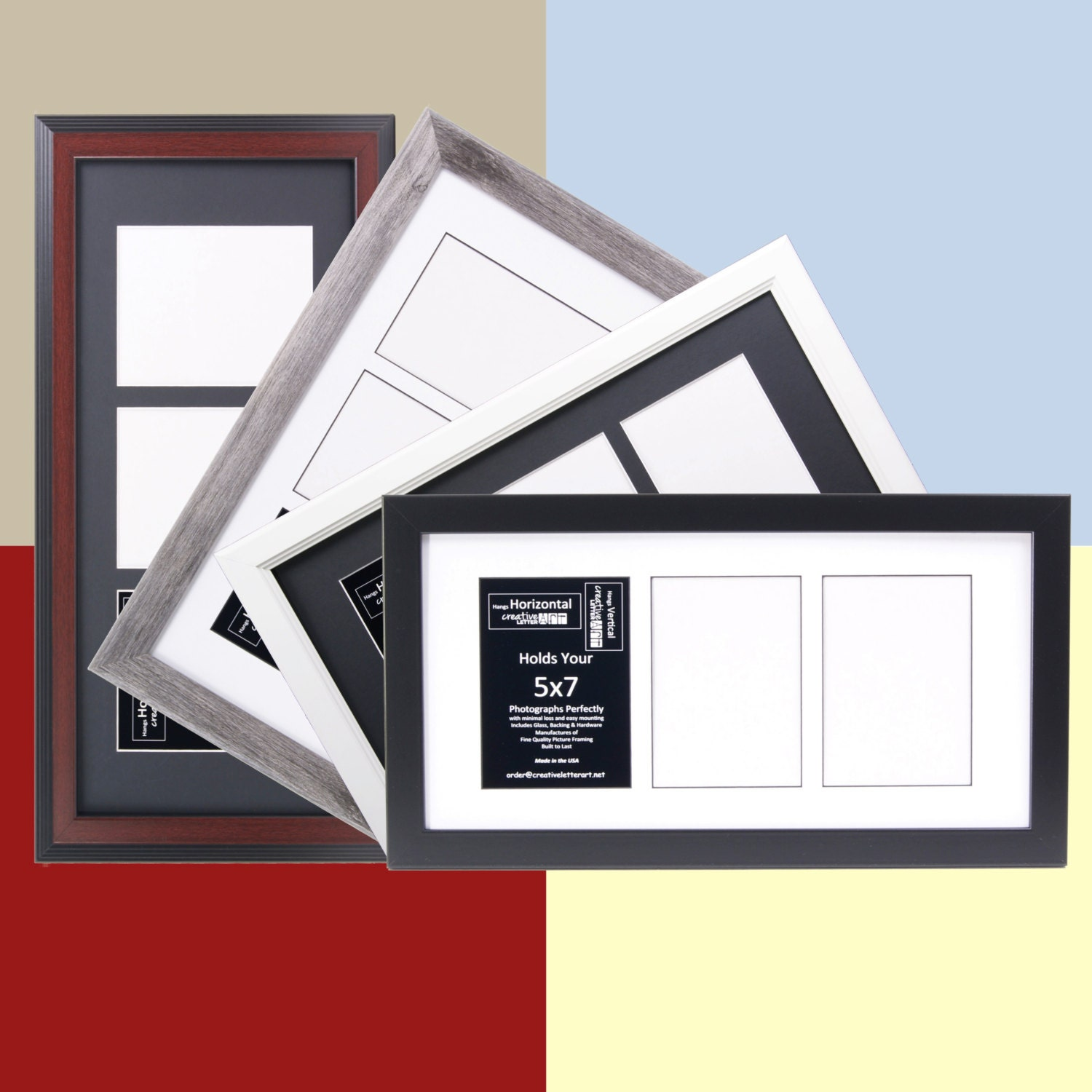 5x7 Multiple 3 Opening Picture Frames With 10x20 Collage Mat