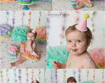 1st birthday photo props, paper pom pms, tissue paper flowers, pastel rainbow pom pom, photo shoot props, birthday party decor