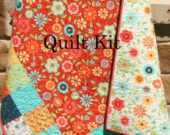 LAST ONE Quilt Kit, Baby Blanket Project, Moda Fabrics Block Party, Flowers Red Yellow Orange Primary Colors, DIY Do It Yourself Kit