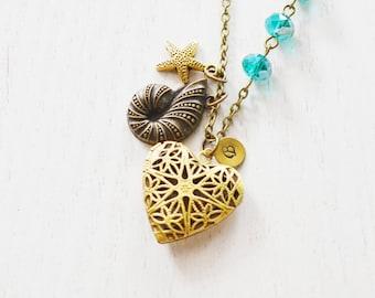 heart locket necklace,ocean seashell locket,nautilus necklace,sisters jewelry,friend necklace,bridesmaid locket,seashell locket,long necklac