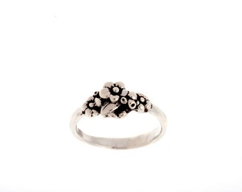 Sterling Silver Small Cluster Forget-me-not Ring