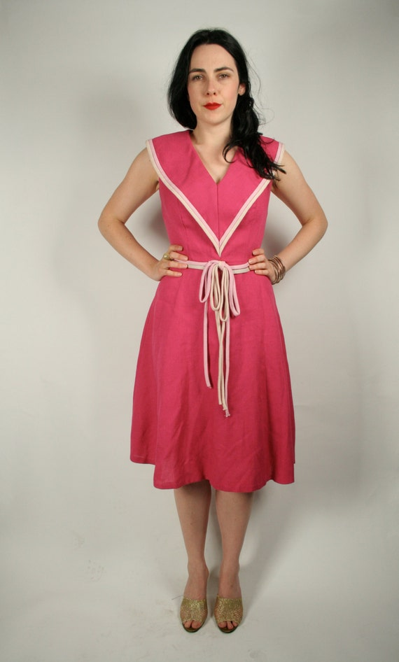 60s fuchsia pink linen dress