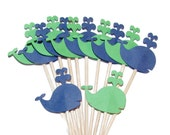 24 Navy Blue and Green Baby Whales, Cupcake Toppers, Party Picks, Food Picks