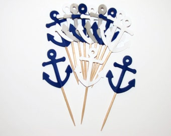 24 Navy Blue, Gray and White Anchors- Party Picks-Cupcake Toppers-Food Picks