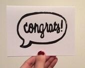 Congrats Linocut Card