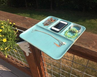 Valet Jewelry Tray Chalk Painted and Distressed Cascade Blue
