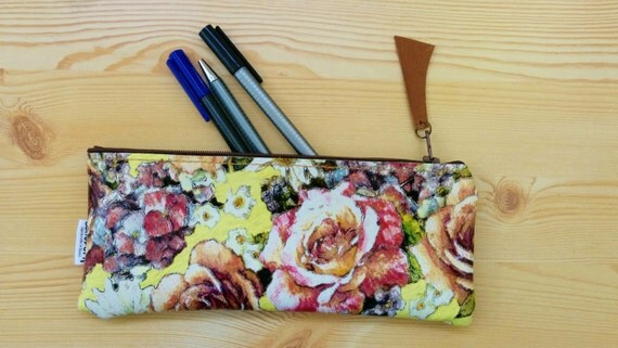 Leather pencil case, leather pencilcase, leather pouch,yellow leather,flowers pencil case,leather case,leather coin purse,yellow pencilcase