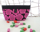 Makeup Bag, Purse Accessory, Notions Pouch: OOAK Pink Black Flowers Costmetic Pouch Organizer