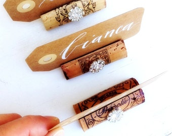 Wedding Place Card Holders Wine Tasting Party Decor Winery Wedding Place Cards Wine Cork Name Card Holder Rustic Wedding Decor Glam Wedding