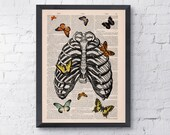 Butterfly in rib cage ,  love collage Upcycled Dictionary Page Upcycled- Book Print ,Print BPSK068b
