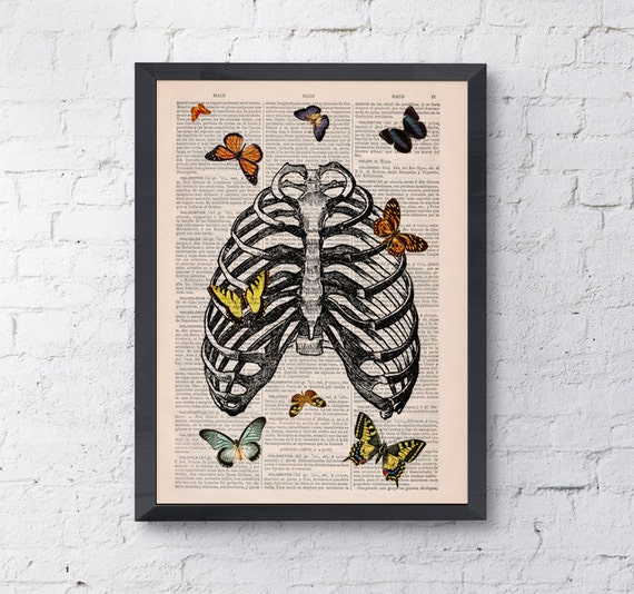 Spring Sale Butterfly in rib cage ,  love collage Upcycled Dictionary Page Upcycled- Book Print ,Print BPSK068b