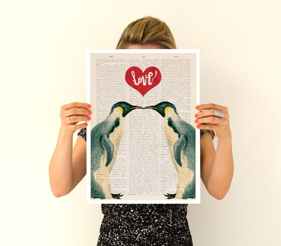 Penguins in love poster, Eco friendly, Nursery art, r LOVE poster, Giclee poster, Love art, Birds art, ANI015PA3
