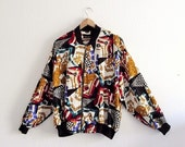Sale Vintage Unisex Baroque Chain Scarf Print Slouchy Bomber Jacket