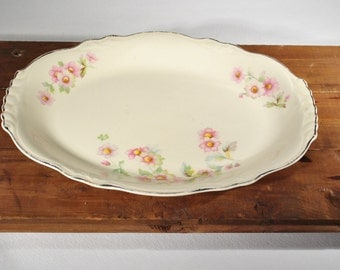 Lovely Eggshell Platter Serving Tray with Pink Flowers 1940s China