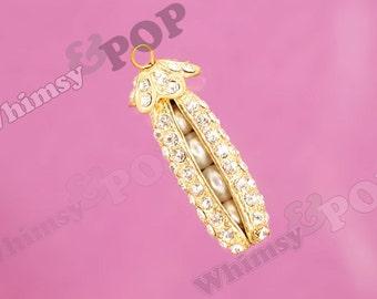 1 - 3D Gold Tone Crystal Rhinestone Pea Pod Charm, Pea Pod Charm, 50mm x 15mm (1-3E)