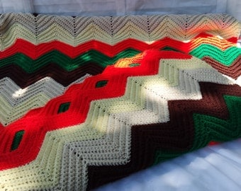 Large Vintage Afghan Throw Blanket