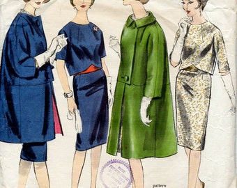1960s Two Piece Dress and Coat Pattern Designer Madame Grès Vogue Paris Original 1106 Vintage Sewing Pattern Overblouse & Skirt Bust 36