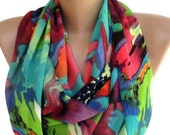 2016 Fashion Scarf  Neon infinity Scarf  Women Scarves Chiffon Scarves Valentines Day Gifts // Gifts For Her / Gifts For Women senoAccessory