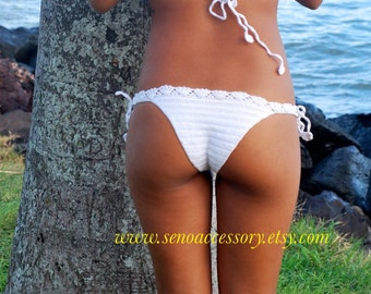 White Lace Brazilian Bikini Bottom Crochet Bikini Summer Fashion Cheeky Bikini Bottom Two Piece Swimwear senoaccessory