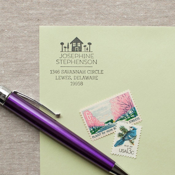Chatty House: Self Inking Address Stamp COTTAGE HOUSE Design