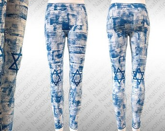 White Seamless Long Leggings,Hand Painted STAR OF DAVID Leggings/Tights,Israel Flag Clothing,Star Of David Flag Apparel,Jewish Apparel