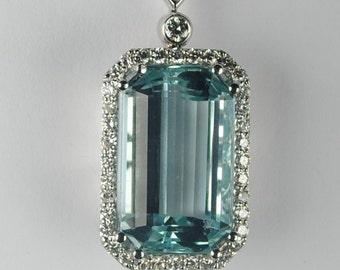 Exquisite 29.03 carat Aquamarine and Diamond Pendant