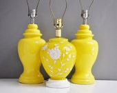 Vintage Bright Yellow Glass Floral Lamp