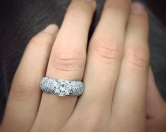 Art Deco Diamond Engagement Ring 14k White Gold or Yellow Gold Round Diamond Ring Vintage Style