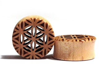 """Cutout Flower of Life Maple Wooden Plugs PAIR 5/8"""" (16mm) 3/4"""" 7/8"""" (22mm) 1"""" (25.5mm) 1 1/8"""" (28mm) Sacred Geometry Wood Ear Tunnels Gauges"""