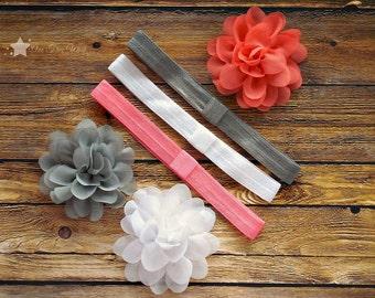 Hair flower, interchangeable elastic headband, Set of 3 each, coral, white, silver, infant headband, newborn headband, baby girl headband