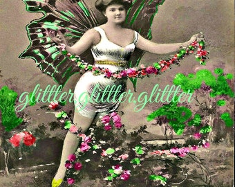 Spring Butterfly Lady, altered vintage postcard, 8x10 print