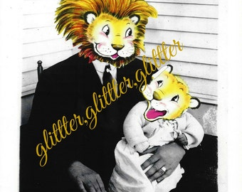 Lion and his Cub, altered art, vintage photograph, vintage photo, Father's Day, 8x10 print