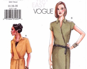 Easy Wrap Dress Pattern Vogue 7227 (Womens sizes 14-16-18)