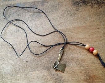 Hatchet Charm on Black Hemp String with wood beads, Long Necklace, Tomahawk Necklace, Hatchet Necklace, String Necklace, Unisex Necklace
